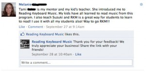 Reading Keyboard Music Facebook Testimonial from Melanie