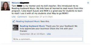 Reading Keyboard Music Facebook Testimonial from Melanie