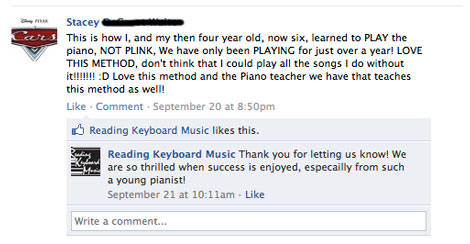 Reading Keyboard Music Facebook Testimonial from Stacey